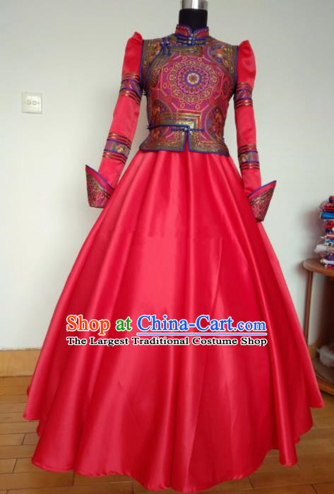 Traditional Chinese Mongol Nationality Wedding Costumes Mongols Female Folk Dance Ethnic Red Dress for Women