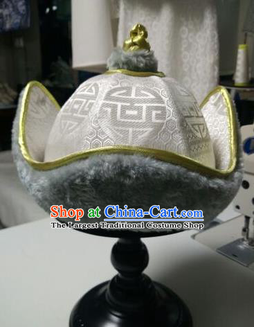Traditional Chinese Mongol Nationality Folk Dance Hats Mongols Ethnic White Hat for Men