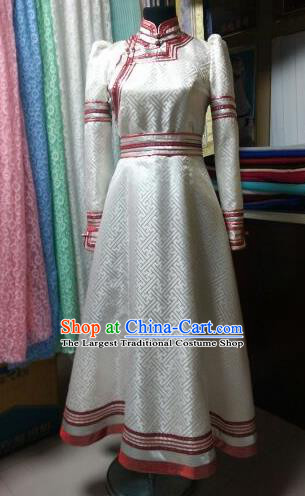 Traditional Chinese Mongol Nationality Costumes Mongolian Ethnic Female Folk Dance White Dress for Women
