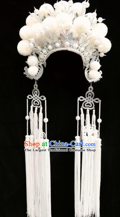 Traditional Chinese Beijing Opera Princess Hats Peking Opera Diva White Phoenix Coronet for Women