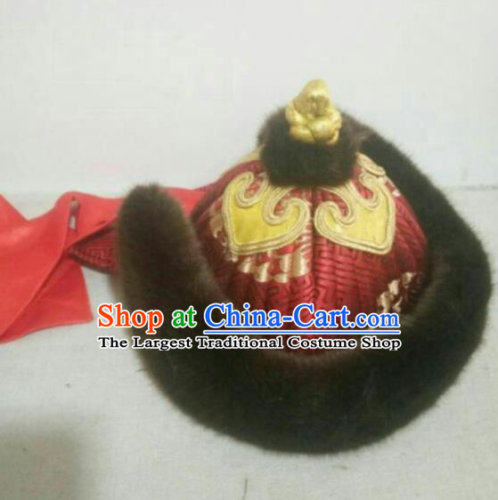 Traditional Chinese Mongol Nationality Hats Mongols Royal Highness Fur Hat for Men