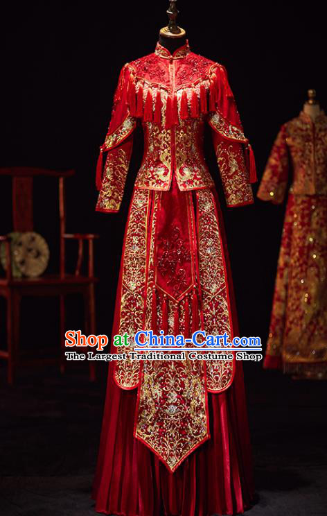 Chinese Traditional Wedding Costumes Ancient Bride Embroidered Xiuhe Suits Red Full Dress for Women