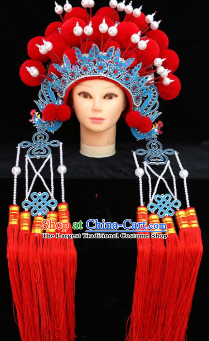 Traditional Chinese Peking Opera Diva Red Phoenix Coronet Beijing Opera Princess Hats for Women
