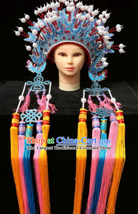 Chinese Traditional Peking Opera Bride Phoenix Coronet Beijing Opera Princess Chaplet Hats for Women