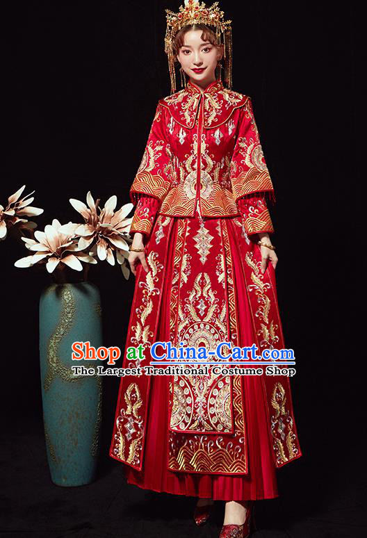 Chinese Traditional Wedding Costumes Ancient Bride Embroidered Red Xiuhe Suits Full Dress for Women