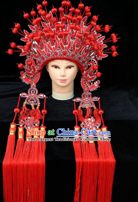 Chinese Traditional Peking Opera Bride Red Phoenix Coronet Beijing Opera Princess Chaplet Hats for Women