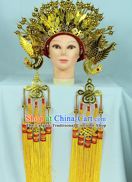 Chinese Traditional Peking Opera Bride Phoenix Coronet Beijing Opera Princess Golden Chaplet Hats for Women