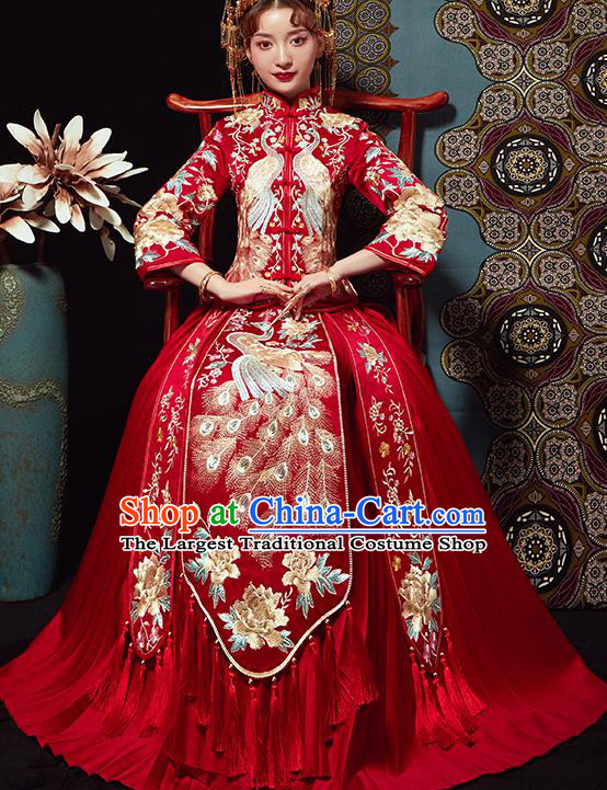 Chinese Traditional Wedding Costumes Embroidered Peacock Xiuhe Suits Ancient Bride Red Full Dress for Women
