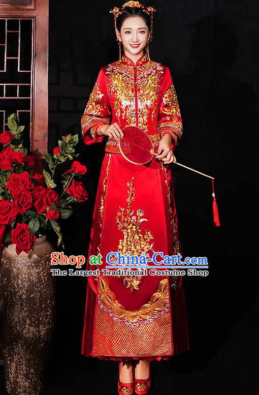 Chinese Traditional Wedding Costumes Bride Embroidered Red Xiuhe Suits Ancient Full Dress for Women