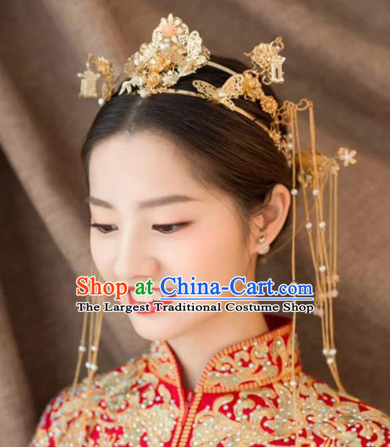 Chinese Ancient Traditional Hanfu Wedding Phoenix Coronet Hairpins Handmade Classical Hair Accessories Complete Set for Women