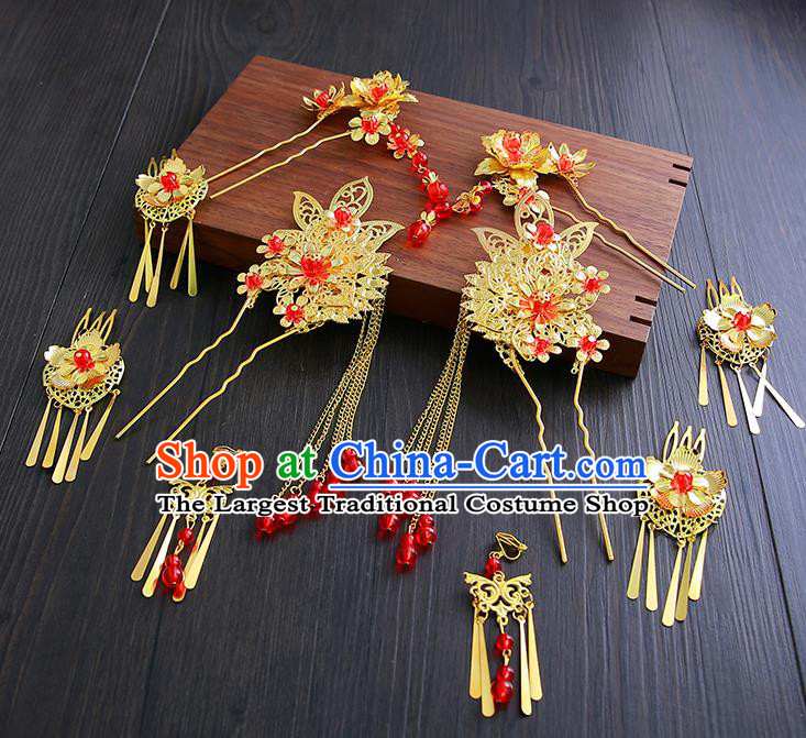 Chinese Ancient Traditional Hanfu Wedding Hair Clip Hairpins Handmade Classical Hair Accessories Complete Set for Women
