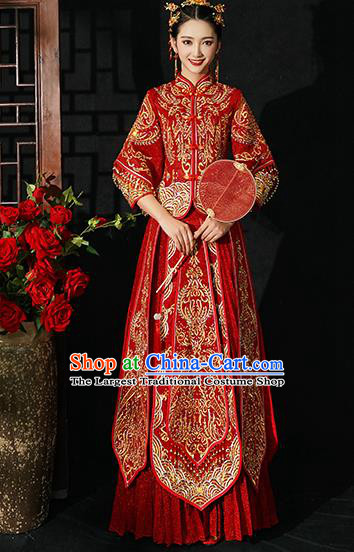 Chinese Traditional Wedding Costumes Bride Xiuhe Suits Ancient Toast Embroidered Red Full Dress for Women
