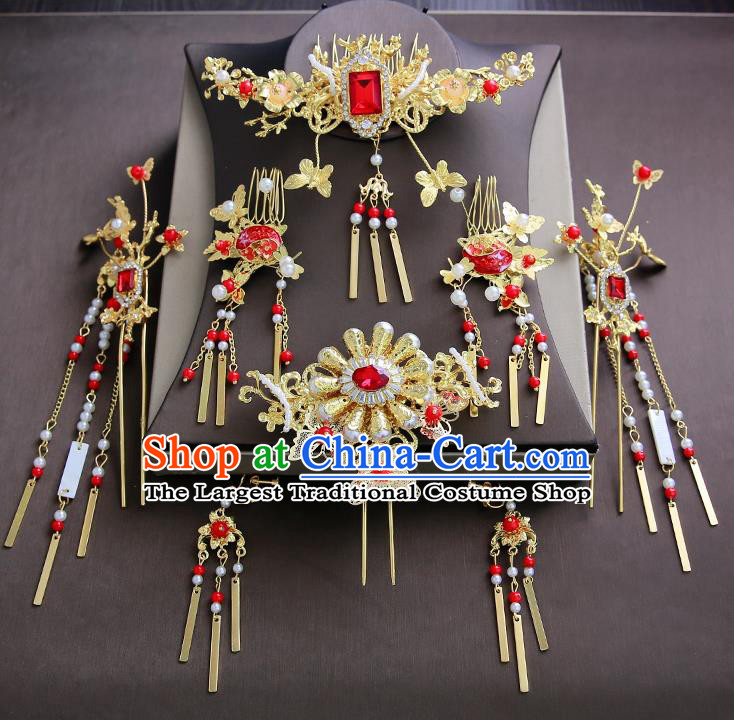 Chinese Ancient Traditional Hanfu Hair Combs Hairpins Handmade Classical Hair Accessories Complete Set for Women