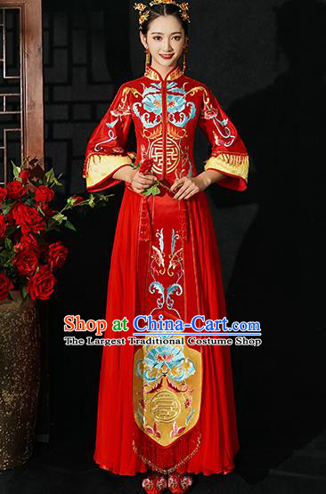 Chinese Traditional Wedding Costumes Bride Toast Xiuhe Suits Ancient Embroidered Lotus Full Dress for Women