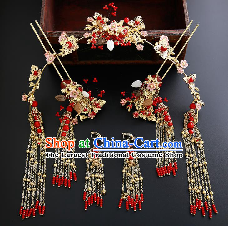 Chinese Ancient Traditional Hanfu Hairpins Hair Clasp Handmade Classical Hair Accessories Complete Set for Women