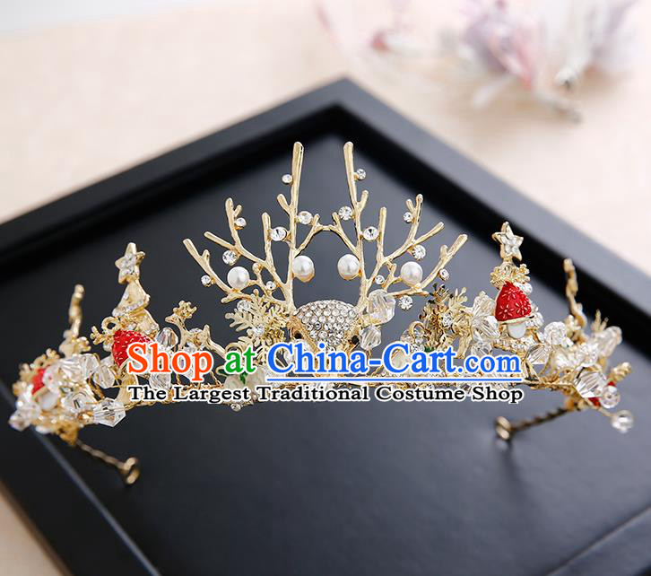 Top Grade Handmade Baroque Crystal Antlers Royal Crown Hair Accessories Princess Hair Clasp for Women