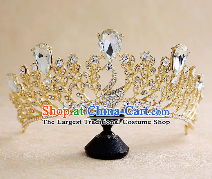 Handmade Baroque Crystal Swan Royal Crown Hair Accessories Princess Hair Clasp for Women