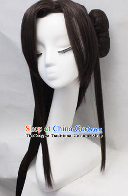 Chinese Ancient Cosplay Swordswoman Wigs Traditional Princess Chignon Handmade Wig Sheath