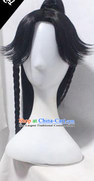 Chinese Ancient Cosplay Young Swordsman Wigs Traditional Knight Chignon Handmade Wig Sheath
