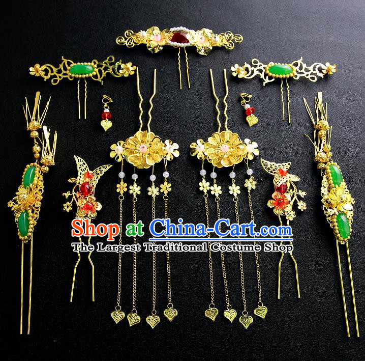 Chinese Ancient Traditional Hanfu Jade Hairpins Handmade Bride Classical Hair Accessories for Women