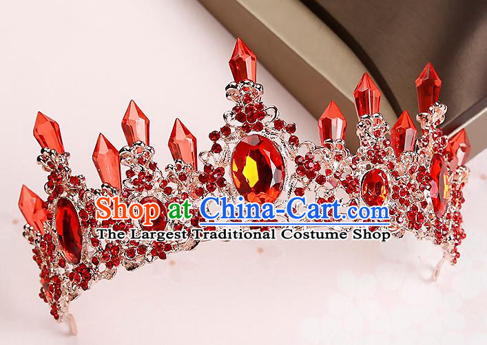 Handmade Baroque Red Crystal Royal Crown Hair Accessories Princess Hair Clasp for Women