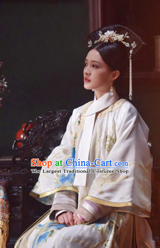 Chinese Ancient Qing Dynasty Drama Ruyi Royal Love in the Palace Imperial Concubine Embroidered Costumes and Headpiece for Women