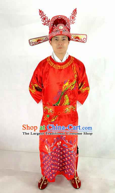 Traditional Chinese Beijing Opera God of Wealth Costumes New Year Clothing and Hat for Men