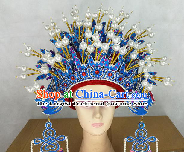 Chinese Traditional Peking Opera Blue Butterfly Phoenix Coronet Beijing Opera Diva Chaplet Hats for Women