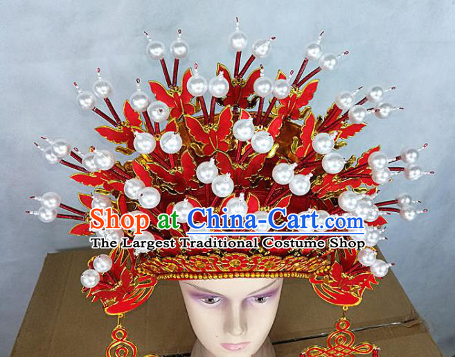 Chinese Traditional Peking Opera Red Butterfly Phoenix Coronet Beijing Opera Diva Chaplet Hats for Women