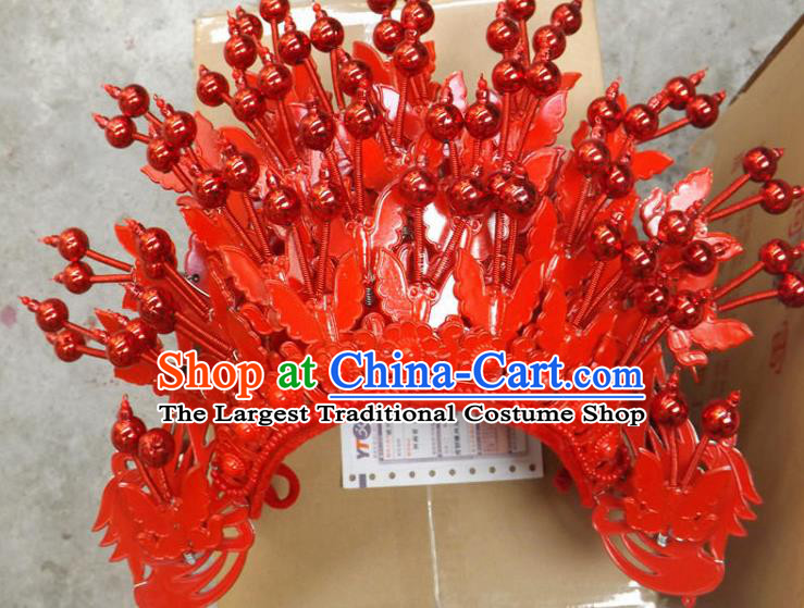 Chinese Traditional Peking Opera Phoenix Coronet Beijing Opera Diva Red Butterfly Chaplet Hats for Women