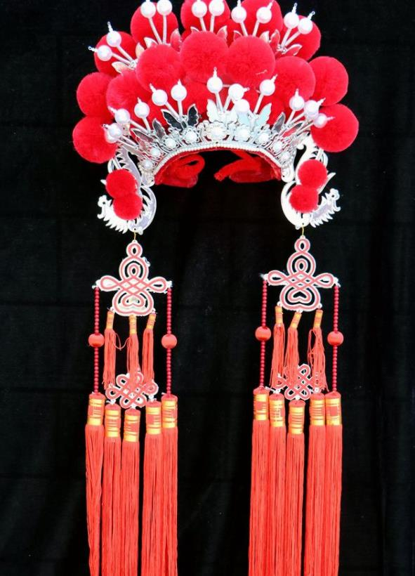 Chinese Traditional Peking Opera Red Venonat Phoenix Coronet Beijing Opera Diva Headwear for Women