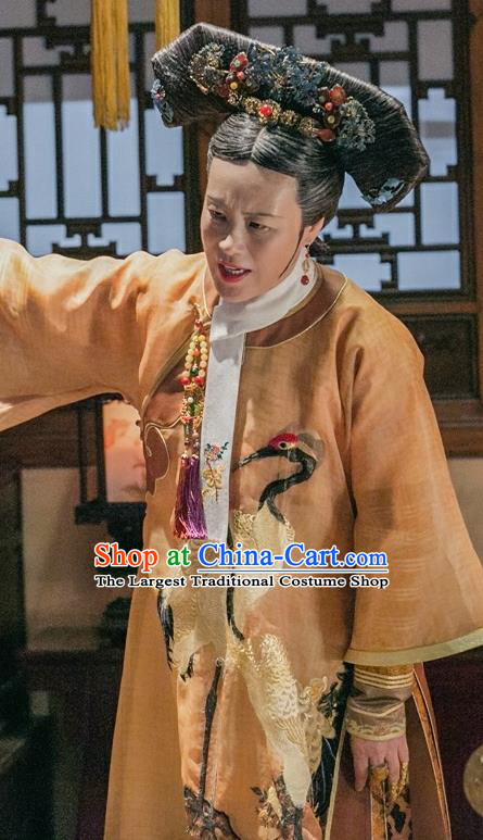 Chinese Ancient Qing Dynasty Manchu Empress Dowager Embroidered Costumes and Headpiece for Women