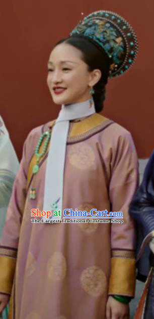 Chinese Ancient Qing Dynasty Imperial Concubine Ruyi Embroidered Costumes and Headpiece Complete Set