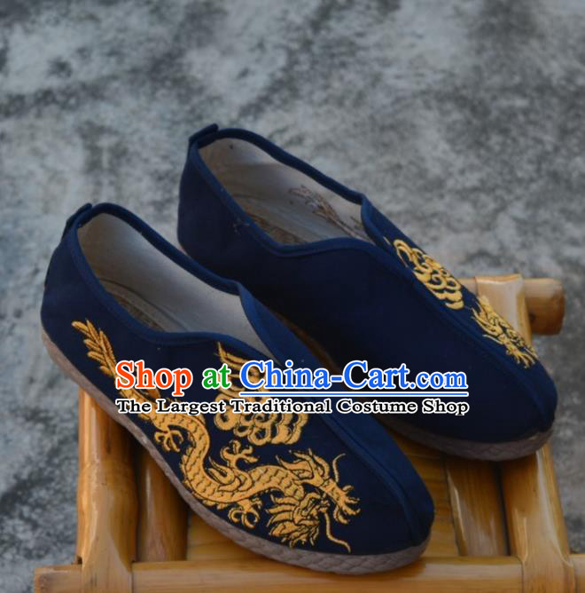 Chinese Traditional Navy Shoes Ancient Swordsman Shoes Embroidered Dragons Shoes for Men