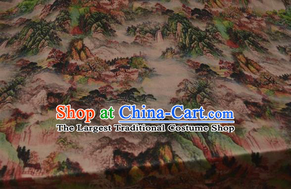 Asian Chinese Traditional Landscape Pattern Silk Design Brocade Fabric Chinese Gambiered Guangdong Gauze Material