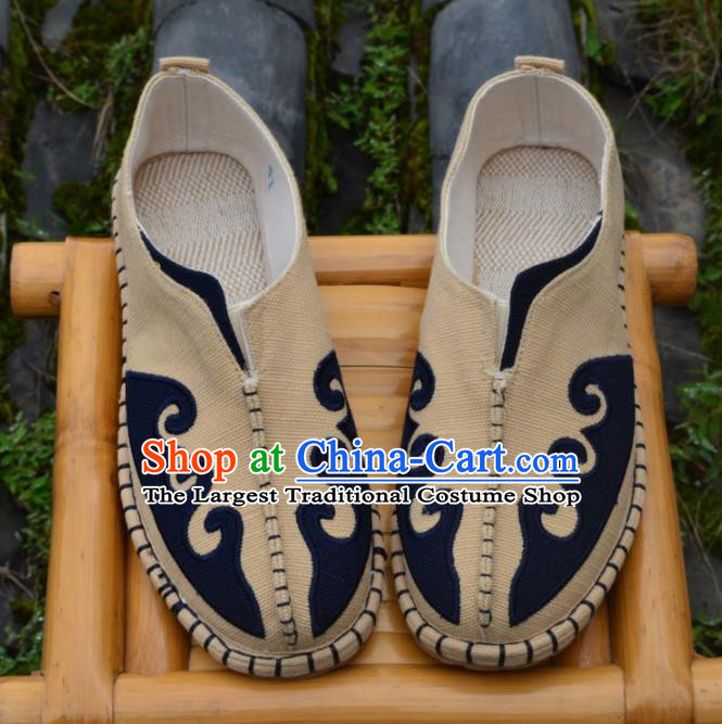 Chinese Traditional Shoes Ancient Swordsman Shoes Beige Linen Shoes for Men