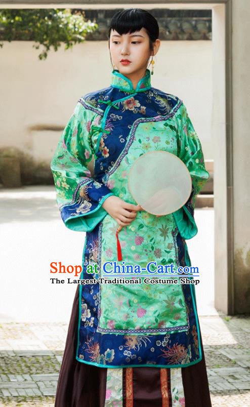 Traditional Chinese Qing Dynasty Landlord Shiva Green Dresses Ancient Drama Nobility Lady Costumes for Women