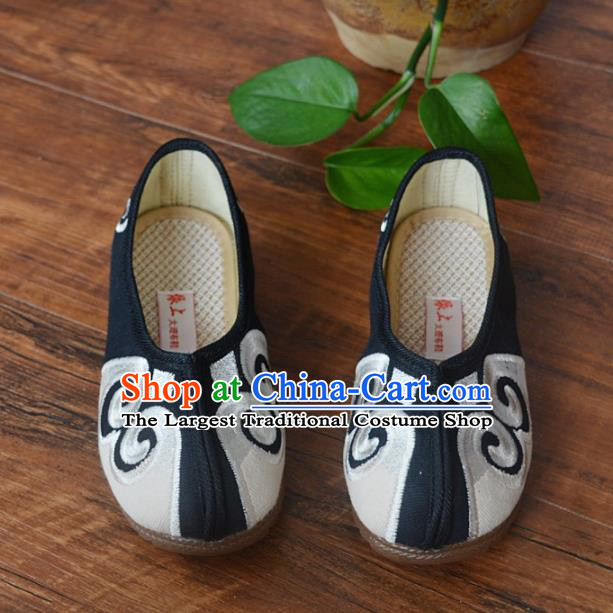 Chinese Traditional Shoes Ancient Monk Shoes Black Cloth Shoes for Men
