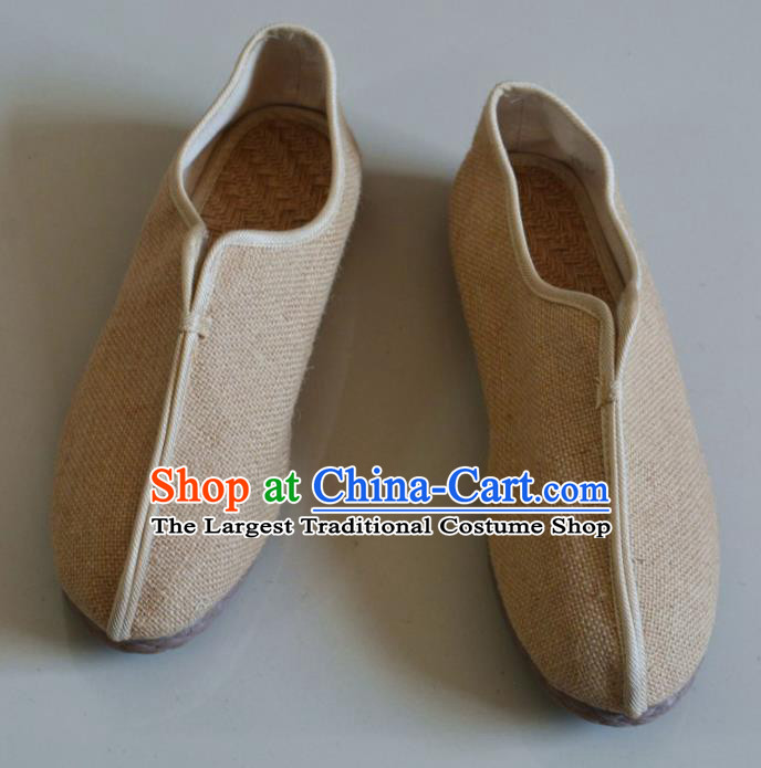 Chinese Traditional National Beige Linen Shoes Martial Arts Shoes Ancient Monk Shoes for Men