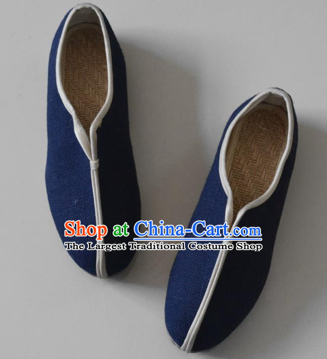 Chinese Traditional National Navy Linen Shoes Martial Arts Shoes Ancient Monk Shoes for Men