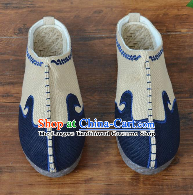 Chinese Traditional Martial Arts Shoes Ancient Shoes Beige Linen Shoes for Men