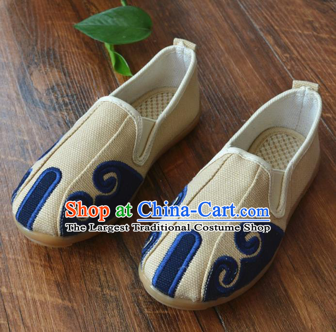 Chinese Traditional Martial Arts Shoes Ancient Beige Linen Shoes Monk Shoes for Men