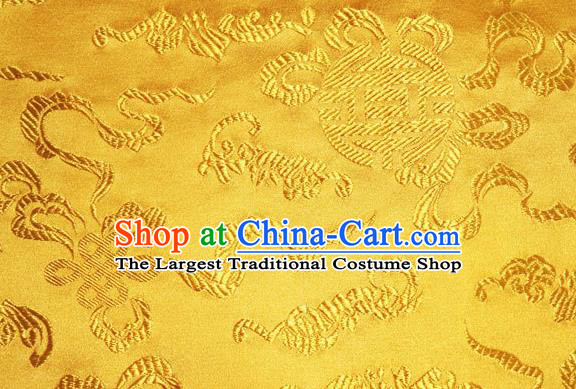 Asian Chinese Tang Suit Silk Fabric Golden Brocade Traditional Cucurbit Pattern Design Satin Material