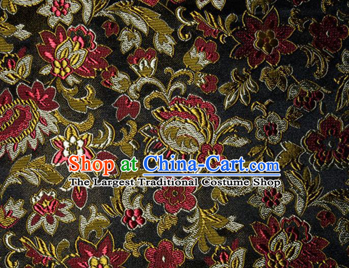 Asian Chinese Tang Suit Silk Fabric Black Brocade Traditional Flowers Pattern Design Satin Material
