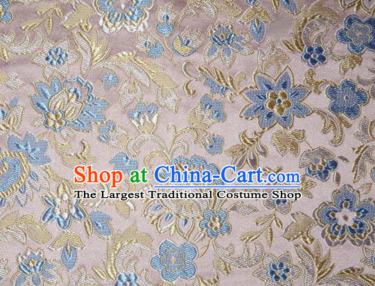Asian Chinese Tang Suit Silk Fabric Pink Brocade Traditional Flowers Pattern Design Satin Material