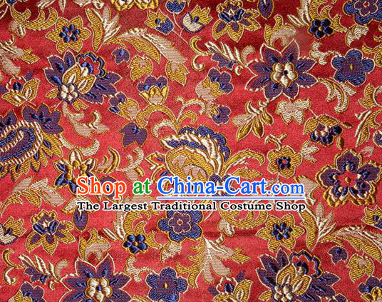 Asian Chinese Tang Suit Silk Fabric Brocade Traditional Flowers Pattern Design Satin Material