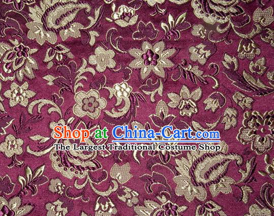 Asian Chinese Tang Suit Silk Fabric Purple Brocade Traditional Flowers Pattern Design Satin Material