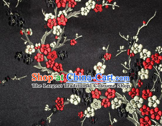 Asian Chinese Tang Suit Silk Fabric Black Brocade Traditional Plum Blossom Pattern Design Satin Material