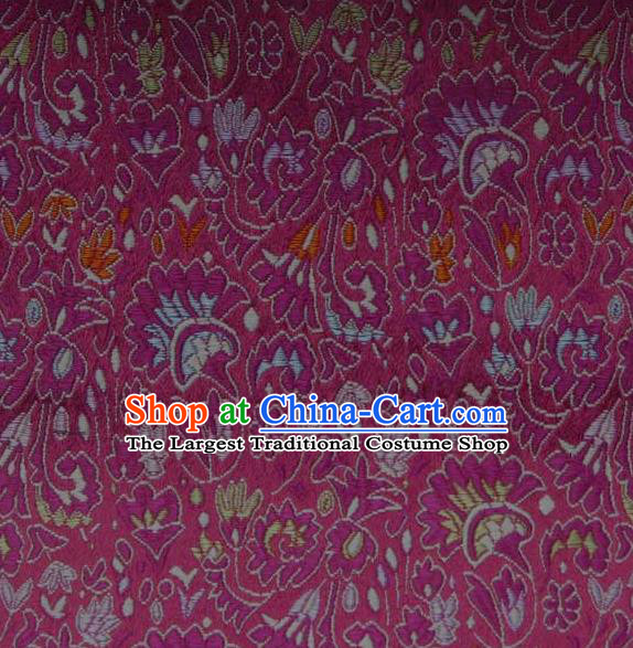 Asian Traditional Cockscomb Pattern Design Rosy Satin Material Chinese Tang Suit Brocade Silk Fabric