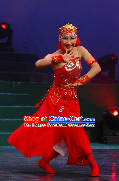 Chinese Traditional Folk Dance Mongolian Ethnic Costumes Group Dance Stage Performance Dress for Women